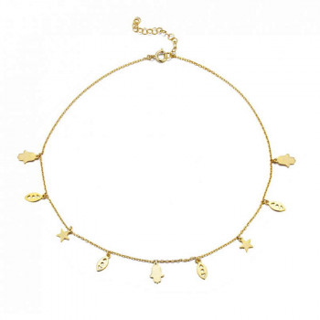 Spiritual Gold Charm Choker Necklace