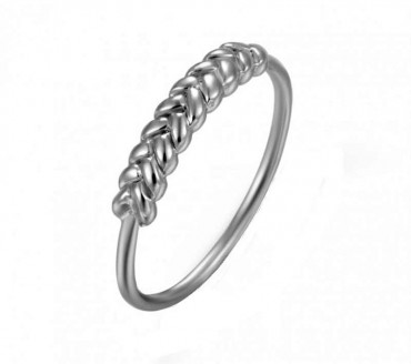 Silver Ring with Center Braid