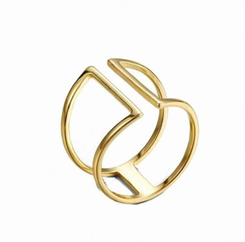 Doppel Bar Gold Wire Ring