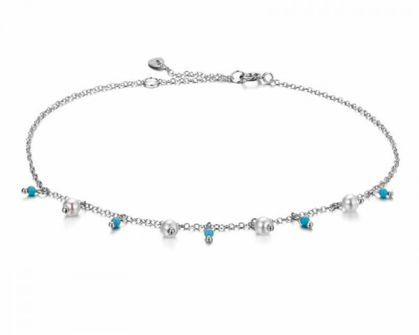 Silver Anklet Pearl Charms